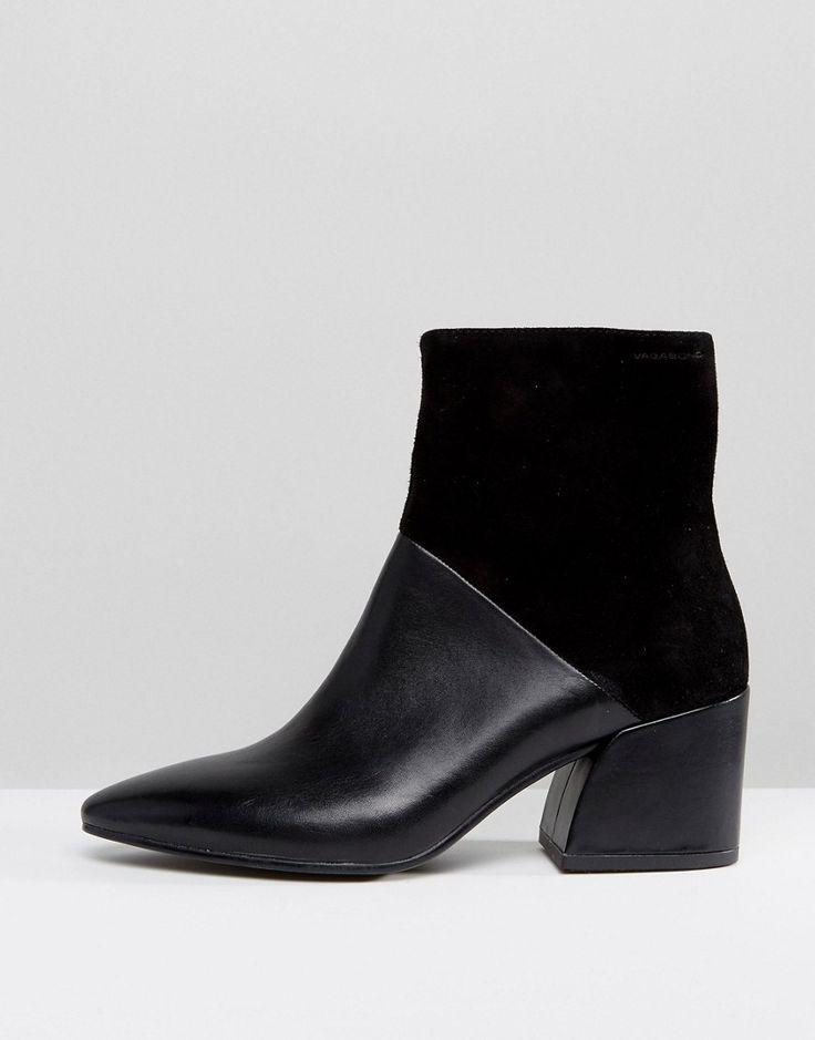 Vagabond Olivia Black Leather Heeled Ankle Boots - Black