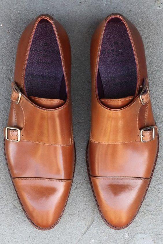 Handmade Men Tan Brown Shoes Double Monk Strap Shoes Men Formal