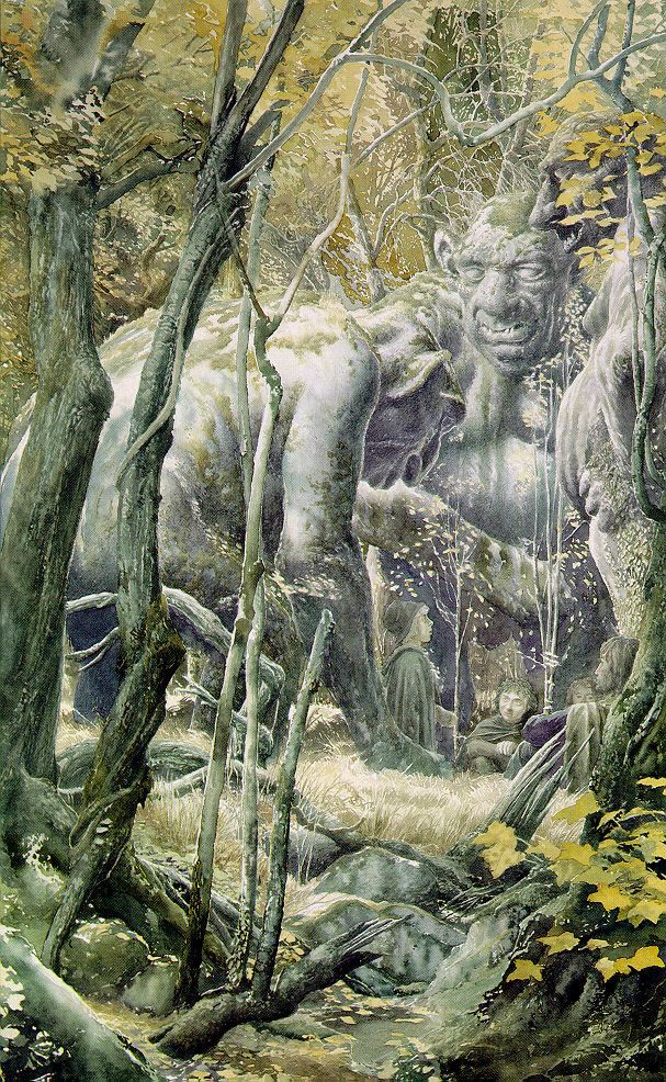 Alan Lee's Lord of the Rings Artwork / Aragorn and the Hobbits meet Bilbo's trolls.