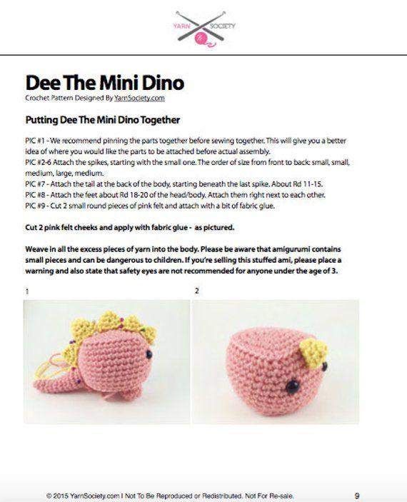 Dinosaur Crochet Pattern. Mini Dinosaur Amigurumi Crochet Pattern ...