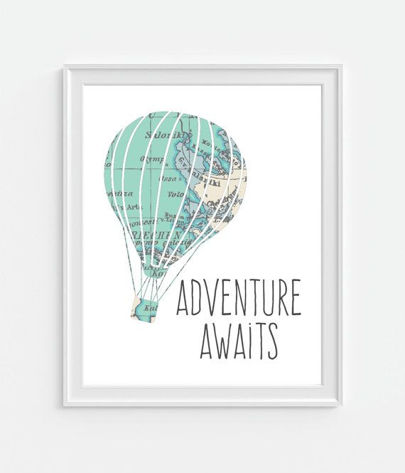 Adventure Awaits Hot Air Balloon - Vintage Reproduction Map. ▶ FRAME IS NOT INCLUDED ▶ 5x7 - 8x10 - 11x14 ▶ Printed On Photo Paper - Kodak Endura