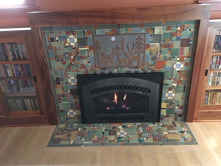 mahogany mantle and built ins. Arts and crafts style layout. Fireplace remodel