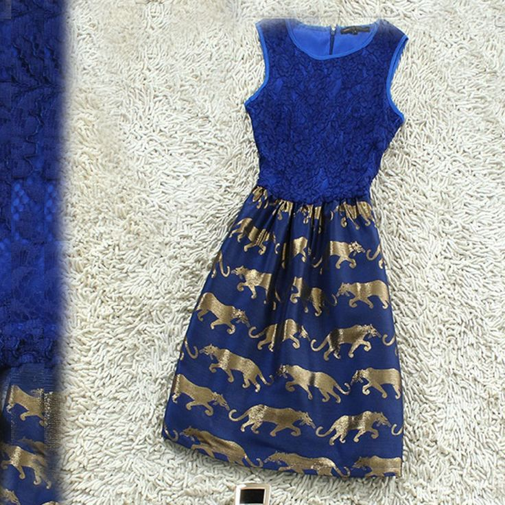 #Blue #lace hollow out skirts / retro leopard print dress #coniefox #2016prom