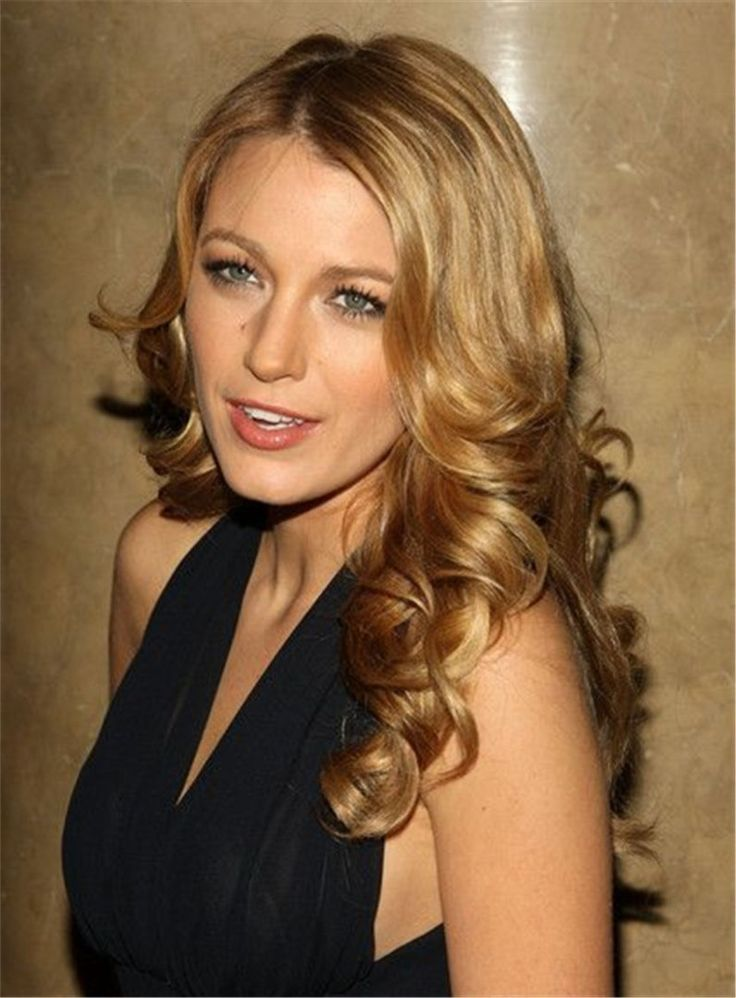 Blake Christina Lively Long Natural Curly Side Part Bangs Lace Front Synthetic Wigs 22 Inches