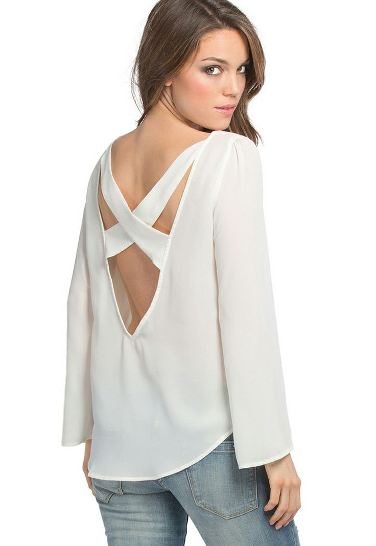 White Long Sleeve X Cut Out Back Chiffon Flowing Blouse US$37.98