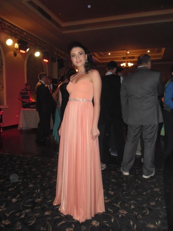 Crina - peach long evening dress