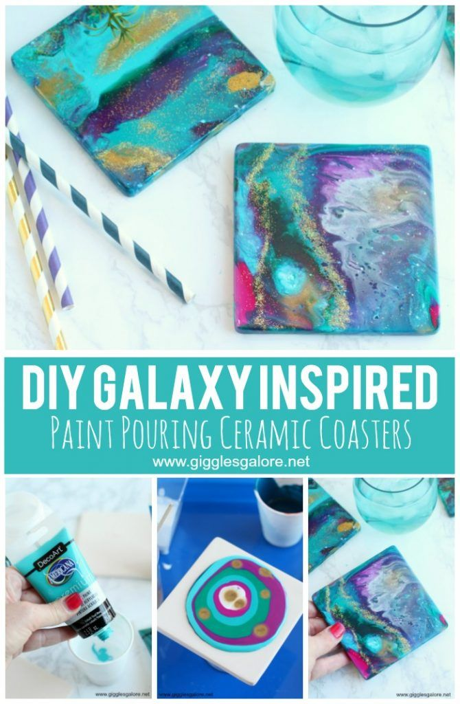 DIY Ceramic Coasters with Acrylic Pour Paint   Library
