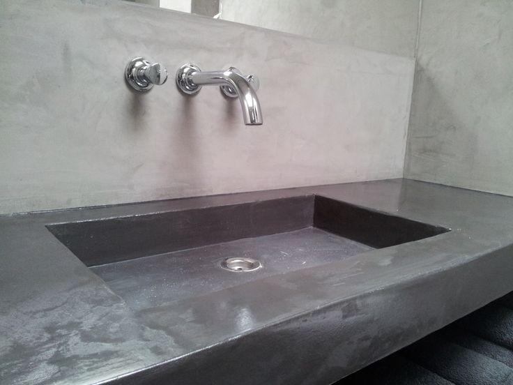 Decostuc wastafel badkamer kalkverf en stucco 39 s pinterest - Deco toilet grijs ...
