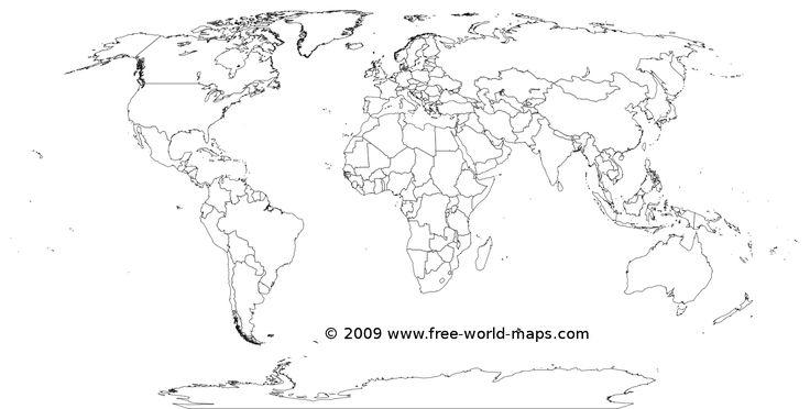 Printable white-transparent political blank world map C3