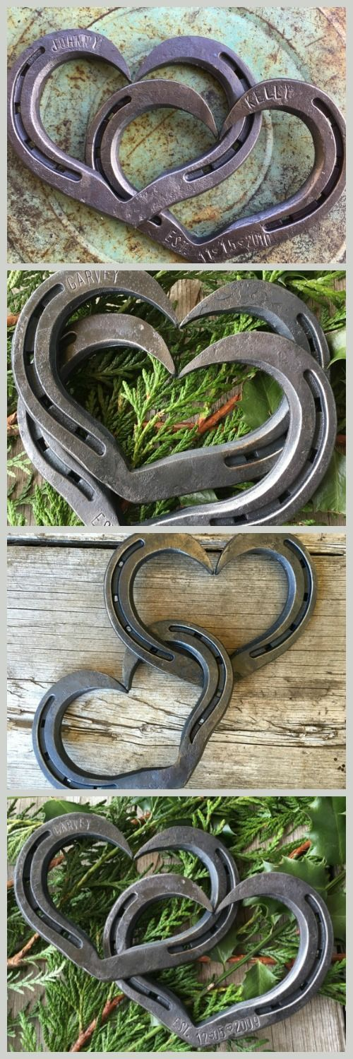 These hearts are great for Valentines gift.  Personalize for that special person.  #hearts, #valentines #horseshoes #gift #country #rustic #ad