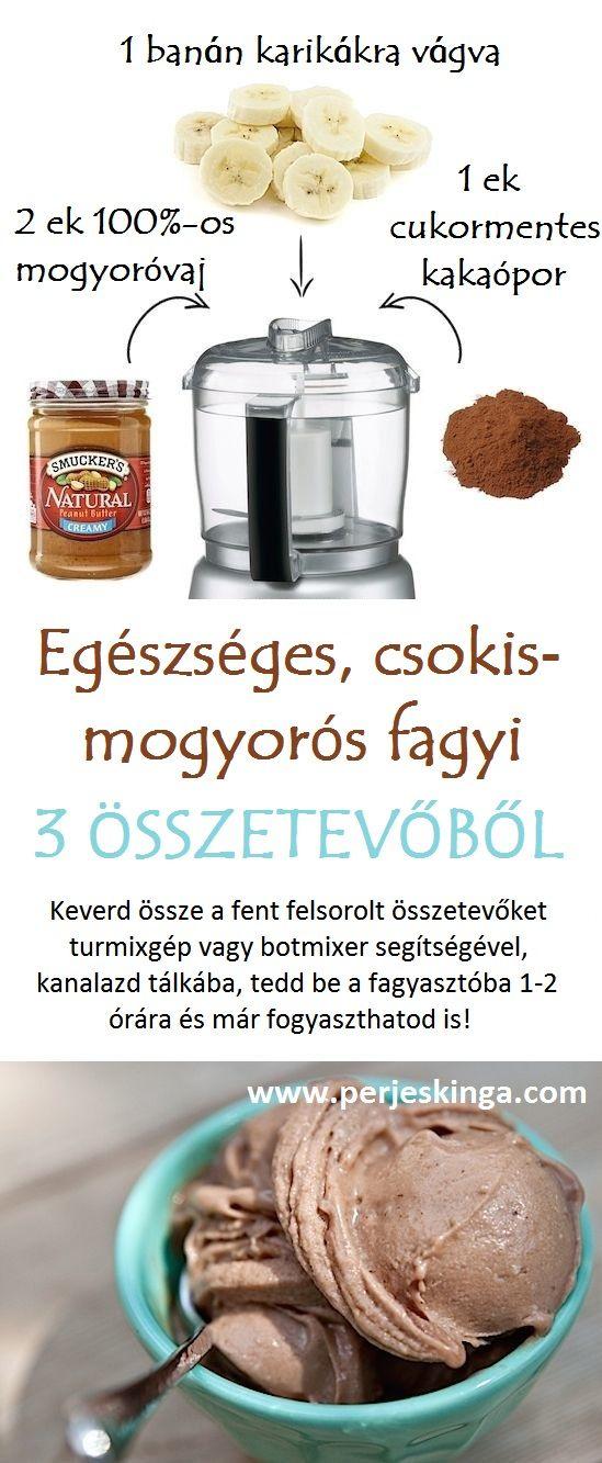 Egészséges, csokis-mogyorós fagyi 3 összetevőből || www.perjeskinga.com