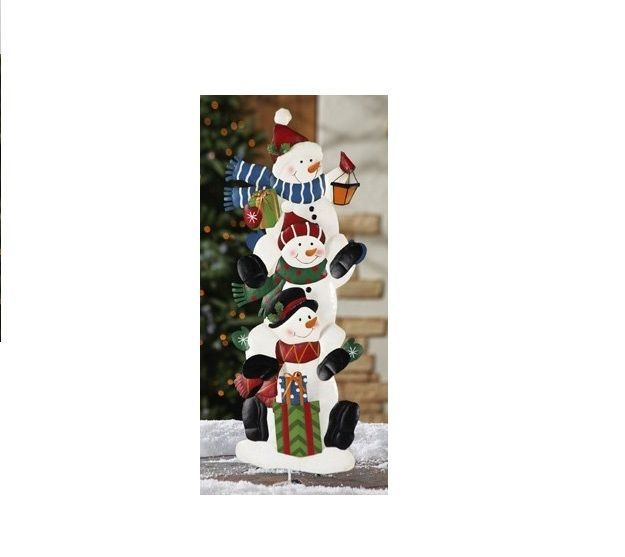 Stack Of Snowmen Holiday NEW Outdoor Garden Stakes Red White Seasonal Gifts Tall #StackOfSnowmens