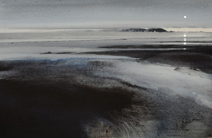 "SEASCAPES - NAOMI TYDEMAN RI. Breaker, Grey & Silver. 21"" x 13.5"""
