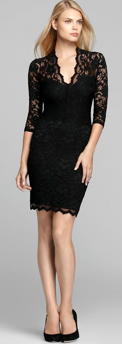 Super stretchy floral lace covers a plain black sheath creating a sheer illusion at the neck, sleeves, and scalloped bottom hemline. Pull this dress on and pair it with pumps for a sophisticated look to take you from desk to dinner.