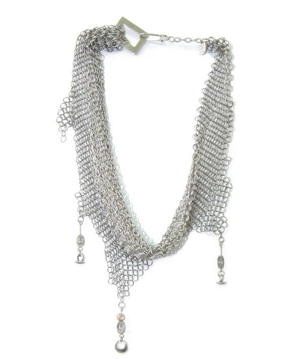 Cult:NS20 $120. A short silver chain mail neck scarf necklace.  With metal droplets and back neck clasp.