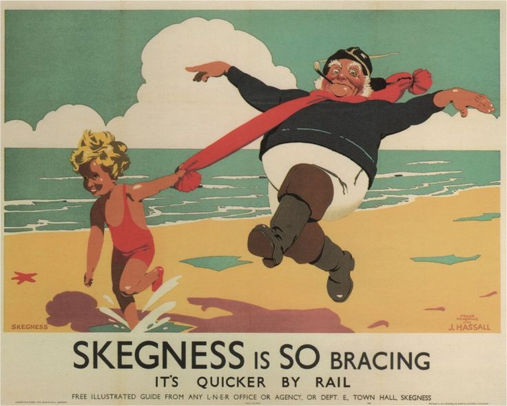 Skegness is So Bracing Its quicker by Rail London Travel Poster 1908 signée J.hassall