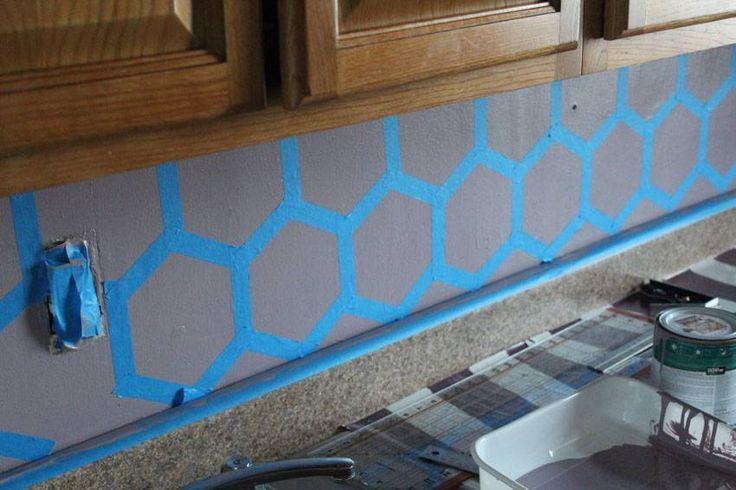 easy diy geometric tile painted kitchen backsplash runaway apricot
