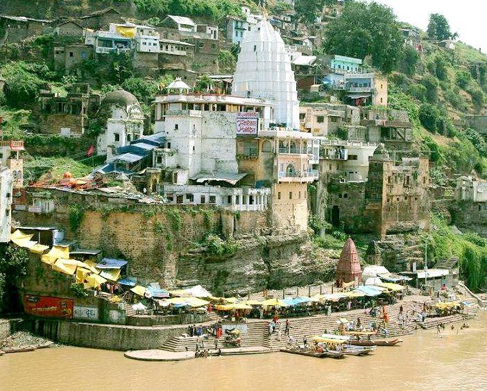 Omkareshwar Temple - at confluence of rivers Narmada and Kaveri, India