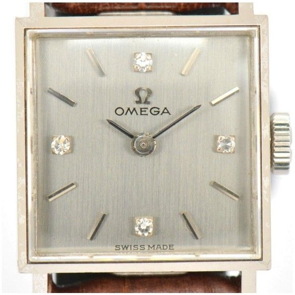 Pre-owned Omega 18K White Gold / Leather with Silver Dial Vintage 17mm... ($659) ❤ liked on Polyvore featuring jewelry, watches, vintage wrist watch, vintage watches, 18k watches, omega watches and leather jewelry