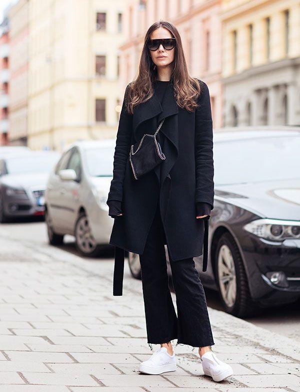 caroline blomst all black white sneakers street style