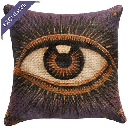 Burlap pillow with an eye-motif. Handmade in the USA.   Product: PillowConstruction Material: BurlapColo...