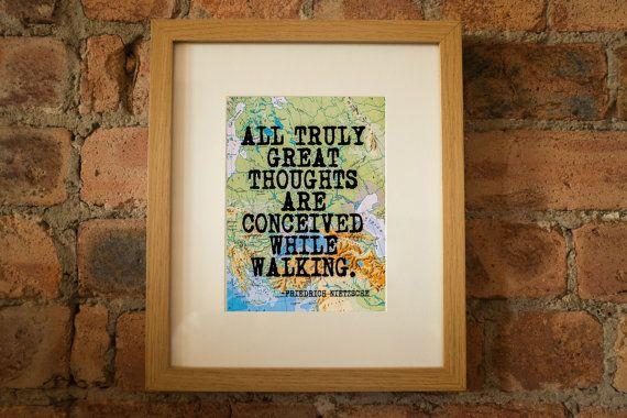 Friedrich Nietzsche Inspirational Travel/Walking Quote Print - Hand-Pulled Screenprint.