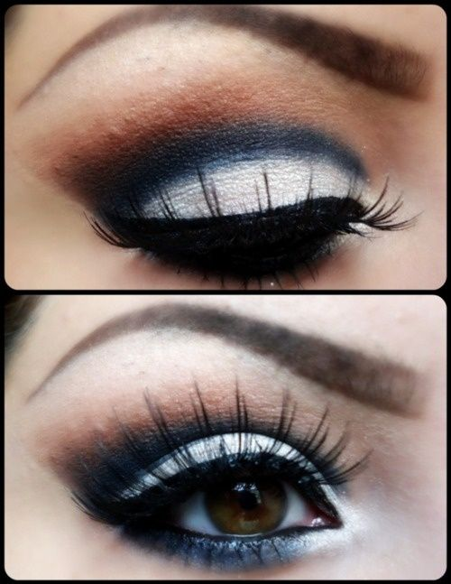 White Makes Your Brown Eyes Pop Use gold, grey, blue, and neutral colors