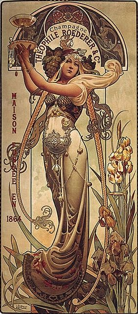 Theophile Roederer Champagne by Louis-Theophile Hingre poster Mucha Style Art Nouveau