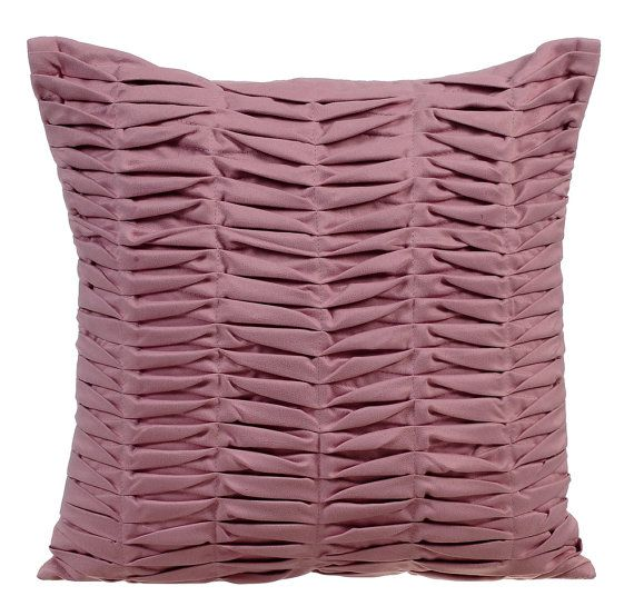 Moss Rose Wind Folds -16x16 Moss Rose Pleated Suede Throw Pillow.