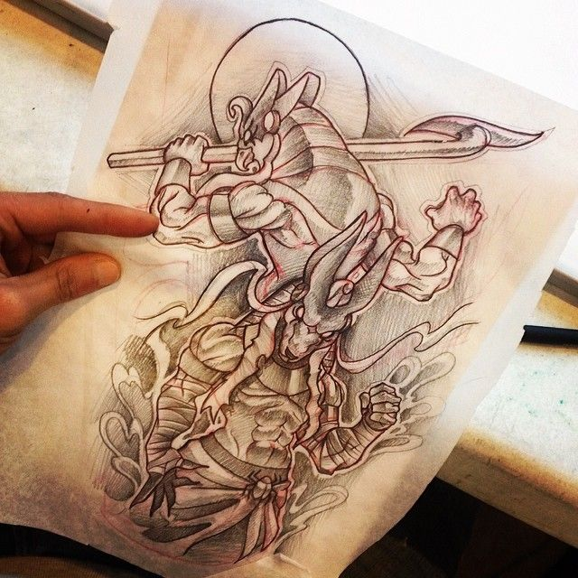 Can't wait to do this piece!!!! #Anubis #Horus #Tattoo #TattooDesign #BlackandGray #BdotOriginal <- lol #bostontattoo www.empiretattooinc.com