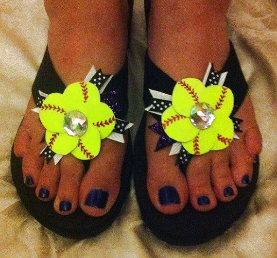 Softball Flower Flip Flops REAL Softball by 3CraftinSisters, $15.00