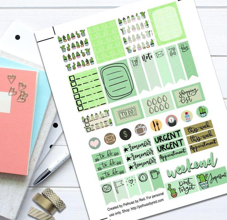 Cactus Green Theme Planner Weekly Sticker Kit #bmecountdown