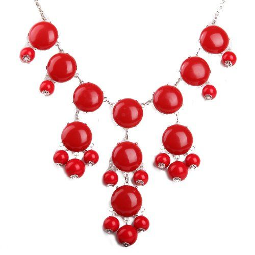 Red Bubble Necklace in Silver Tone, Bib Necklace, Statement Necklace (Fn0508-S-Red) EnyaJewelry http://smile.amazon.com/dp/B009DXUZP0/ref=cm_sw_r_pi_dp_0VrYvb01W4JMJ