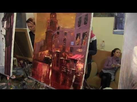 ▶ Урок живописи Игоря Сахарова Ночной мотив техника мастихином - YouTube