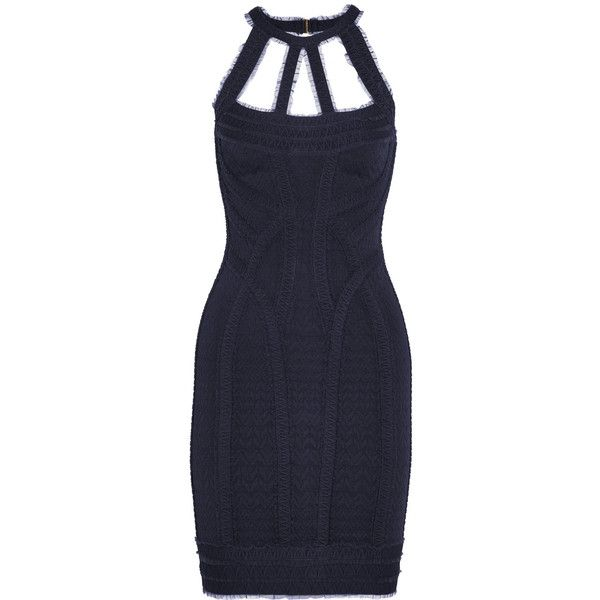 Hervé Léger Cutout tulle-trimmed bandage mini dress featuring polyvore women's fashion clothing dresses navy mini dress short cut out dresses short dresses navy dresses navy short dress