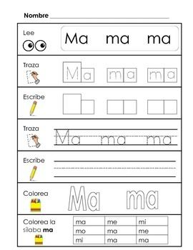 Learning syllables is essential to early Spanish literacy. These activity sheets are great ways to reinforce syllables during independent practice. Each page contains:-Read the syllable-Trace the syllable in boxes-Write the syllable in boxes-Trace the syllable on a line-Write the syllable on a line-Color the syllable- Find and color the syllableIncluded in this set are the syllables:-ma me mi mo mu-pa pe pi po pu-sa se si so su-ta te ti to tu-la le li lo luGreat activity to incorporate into…