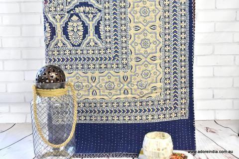 Blue Ajrakh Hand Block Kantha Quilt