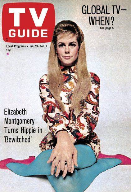 """Elizabeth Montgomery turns Hippie in BEWITCHED; TV Guide asks:  """"Global TV - When?"""" ~ January 27, 1968"""