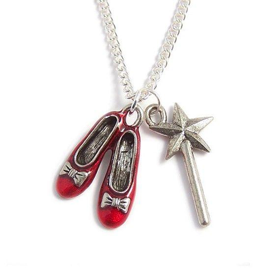 Wizard of Oz necklace RUBY Red Slippers and the Good Witch's magical wand LunarraStar Jewellery  www.LunarraStar.com www.etsy.com/uk/shop/LunarraStar http://stores.ebay.co.uk/Dark-Elegance-Designs