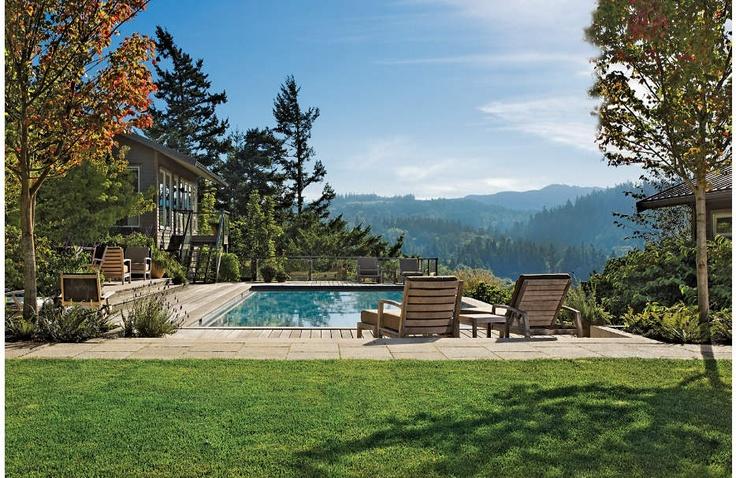 Pool and woodland landscape