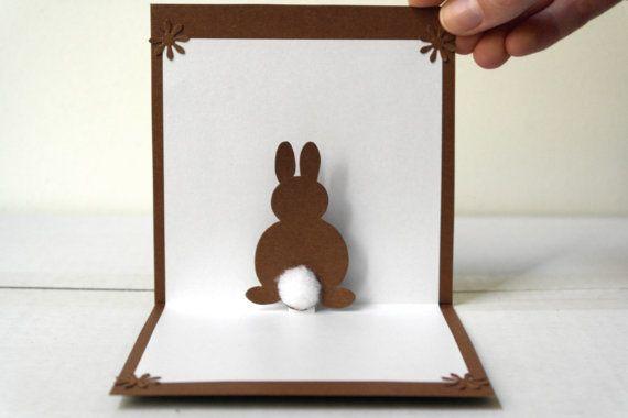 Pop Up 3D Bunny Card - Original Handmade Unique Special Cute Sweet Greeting Card. €5.50, via Etsy.