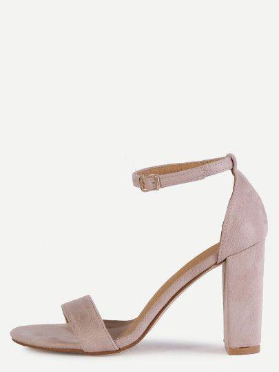 Sandales à talon bout ouvert avec courroie - rose