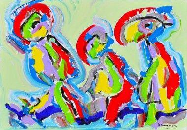 In harmonie schilderij in de stijl van Cobra