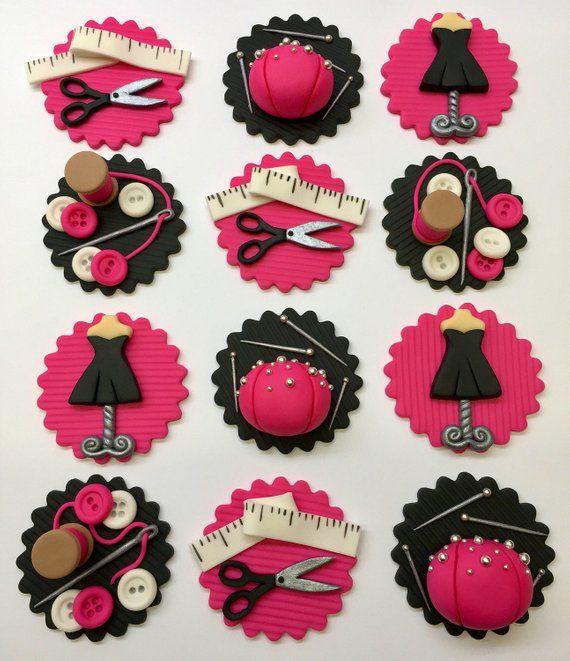 sewing kit Scissors Edible Cake Topper Birthday Decoration