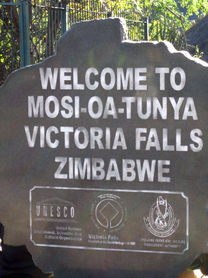 Sign at Victoria Falls in Zimbabwe, Africa. Travel to Zimbabwe with INSPIRATION ZIMBABWE, your boutique Destination Management Company (DMC) for all inbound travel to Zimbabwe, Africa. INSPIRATION ZIMBABWE is a member of GONDWANA DMCs, a network of boutique DMCs across Africa and beyond. www.gondwana-dmcs.net