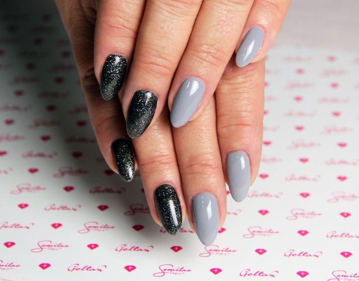 Grey&Black #greynails #blacknails # longnails #semilac
