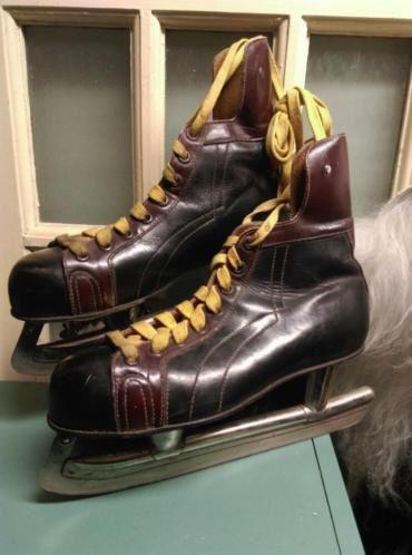 Oude Vintage Schaatsen Leer  Bruin - Geel