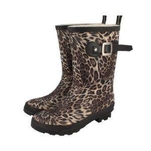 Botas de agua de leopardo con hebilla lateral de la marca nacional Gioseppo