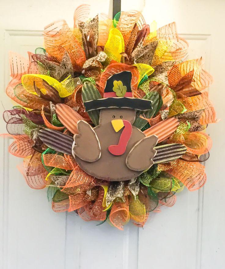 Fall Turkey Wreath/Autumn Turkey Wreath/Thanksgiving Wreath/Thanksgiving Turkey Wreath by VivianKayHome on Etsy https://www.etsy.com/listing/473657097/fall-turkey-wreathautumn-turkey