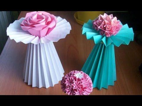 Показываю и Рассказываю, как сделать из бумаги своими руками красивые поделки для дома, а именно вазу подставку для цветов. А точнее даже 2 вазы по одной схе...
